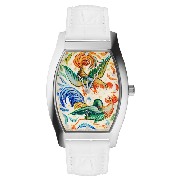 "Palekh watch ""Roosters №75"" quartz, hand-painted, artist Kornilova, white band"