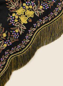 """Woolen shawl """"Golden Flowers"""" black 130x130 cm"""