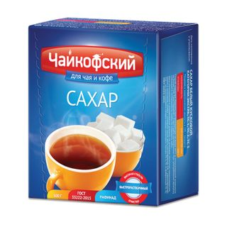 """TCHAIKOF / Refined sugar """"Tchaikofsky"""", 0.5 kg (98 pieces, 15x16x21 mm), top grade according to GOST, cardboard package"""