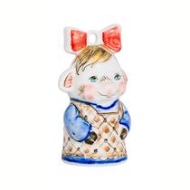 Christmas toy Pig Bow underglaze colored paint, cobalt Gzhel Porcelain factory