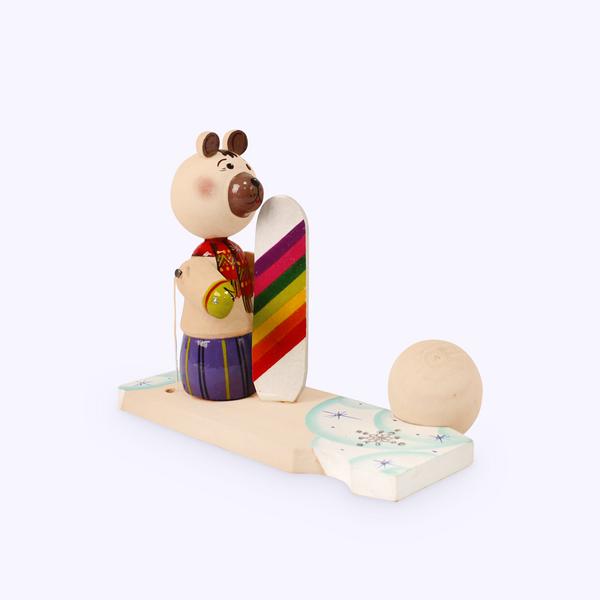 Bogorodskaya toy / Wooden souvenir 'Bear with a snowboard'