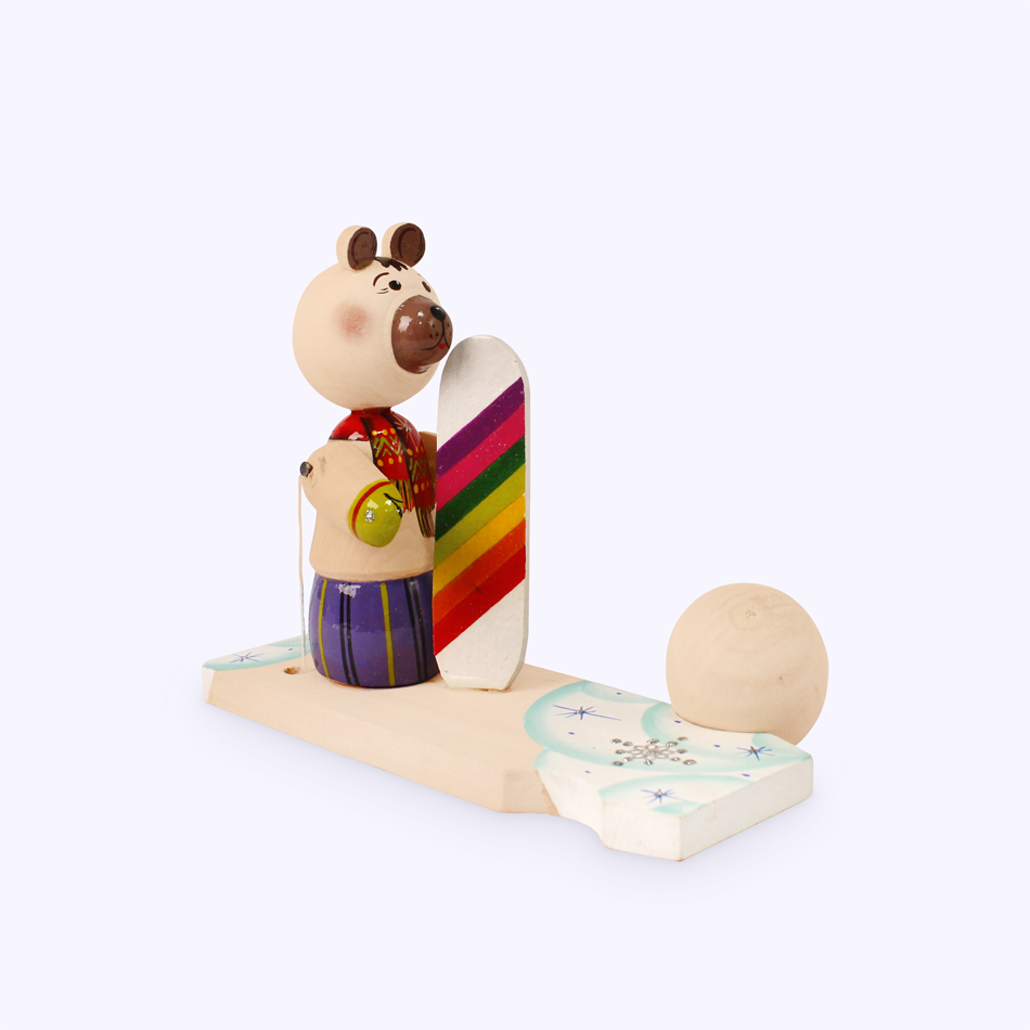 "Bogorodskaya toy / Wooden souvenir ""Bear with a snowboard"""
