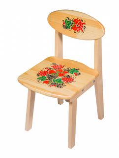 Khokhloma painting / Wooden children's folding chair, 2 height category