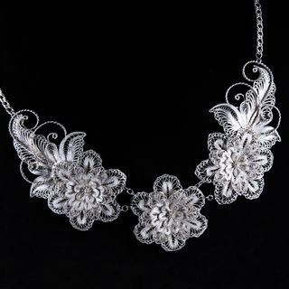 "Necklace ""Spring color"" silver plating, Kazakovo Filigree"