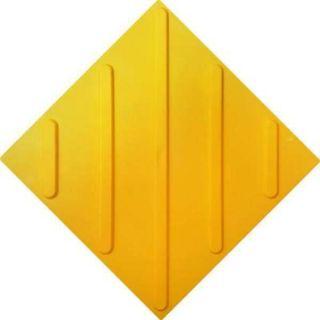 Tactile polyurethane tile, diagonal arrangement of reefs, yellow color, 300x300 mm