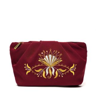"""Cosmetic bag """"Aida"""" red with a zipper and a flower pattern"""