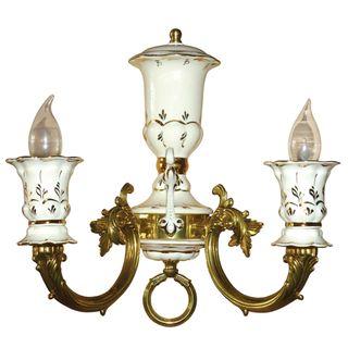 Lamp wall Caprice 2 carob linen-gold, Gzhel Porcelain factory