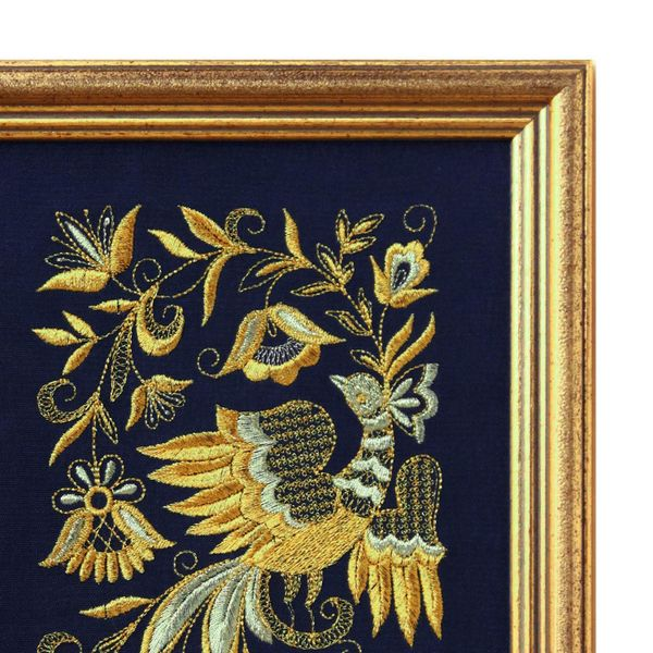 Mural 'Bird spring' blue with gold embroidery
