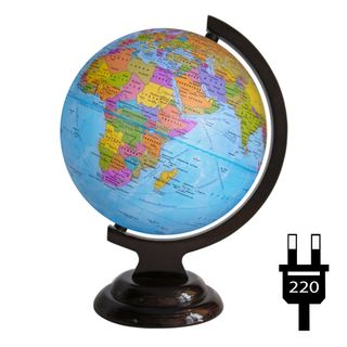 Political globe with a diameter of 210 mm on a wooden stand with backlight