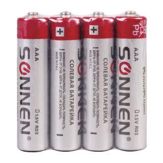 SONNEN / Batteries AAA (R03, 24A), saline, little fingers, wrapped in foil, SET 4 pcs