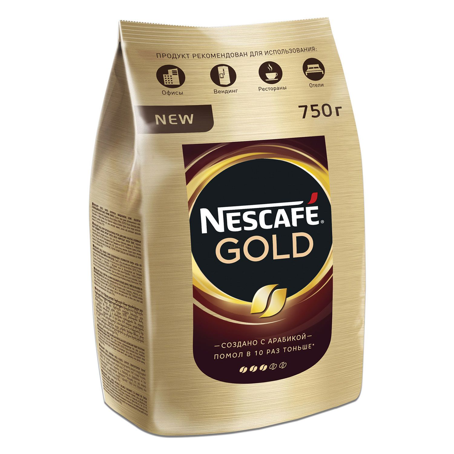 """NESCAFE / Ground coffee in instant """"Gold"""" freeze-dried, soft pack 750 g"""