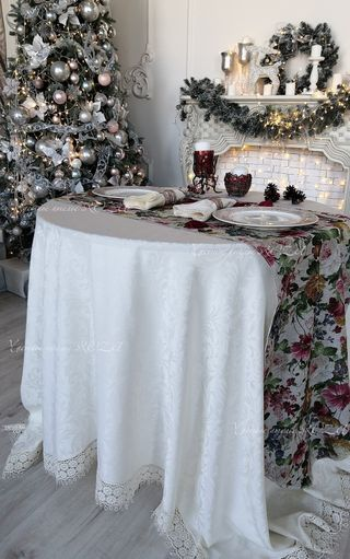 Tablecloth with lace Versailles with floral carpet