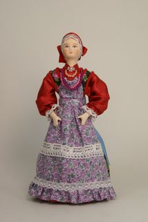 Doll gift porcelain. Russian folk costume.
