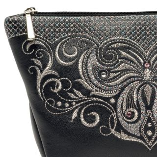 Leather cosmetic bag Butterfly blue with silver embroidery