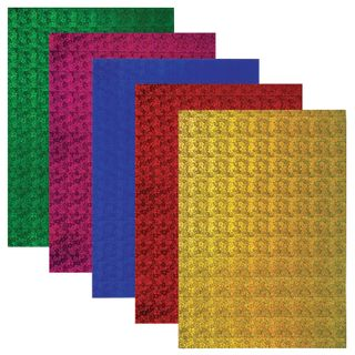 Cardboard A4 colored HOLOGRAPHIC, 5 sheets of 5 colors, 230 g/m2, FLOWERS TREASURE ISLAND