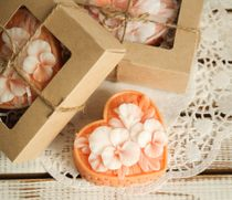 Homemade olive soap gift Basket Flower color orange