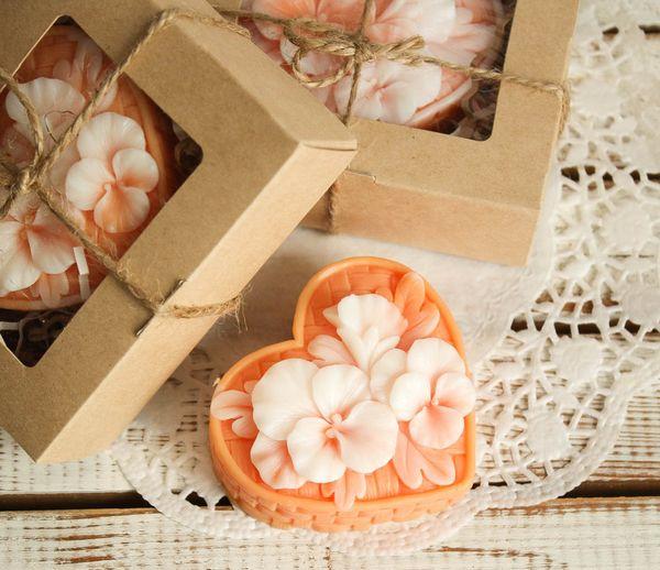 Homemade olive soap gift Basket Flower color orange