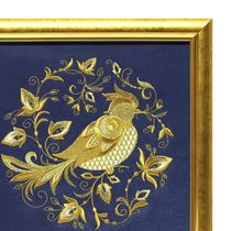 Painting 'the summer garden' blue with gold embroidery