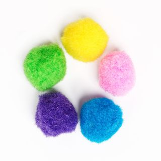 POM-poms for creativity, 5 colors, 15 mm, 50 PCs., TREASURE ISLAND