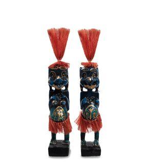 "Wooden statuette ""Asmat blue, red"" 20cm"