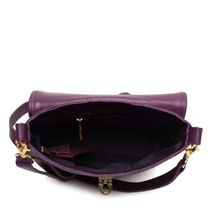 Leather bag 'Isabel' purple with gold embroidery
