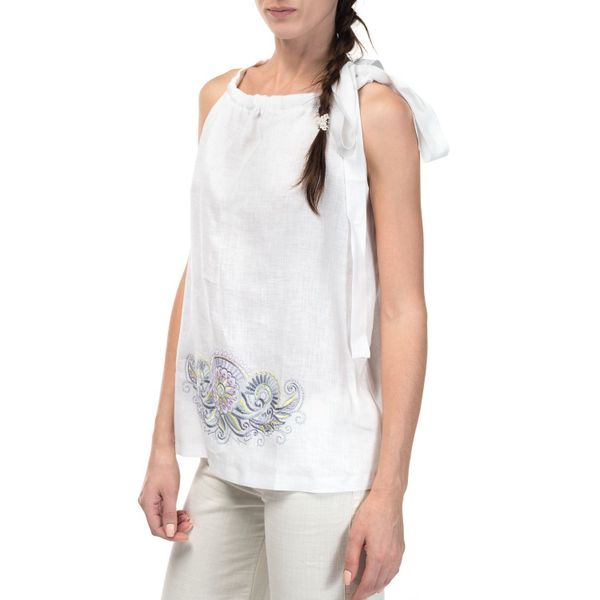 Women's blouse 'Dion' white with silk embroidery sleeveless model 2383 pattern 2233