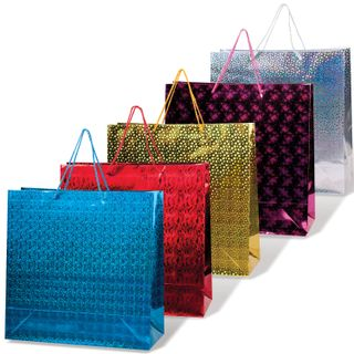 GRANDGIFT / Laminated gift bag, 38x38x16 cm, holographic, assorted color