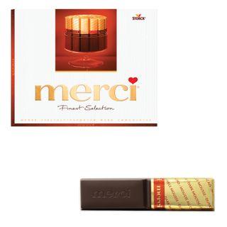 MERCI / Assorted dark chocolate candies, cardboard box 250 g