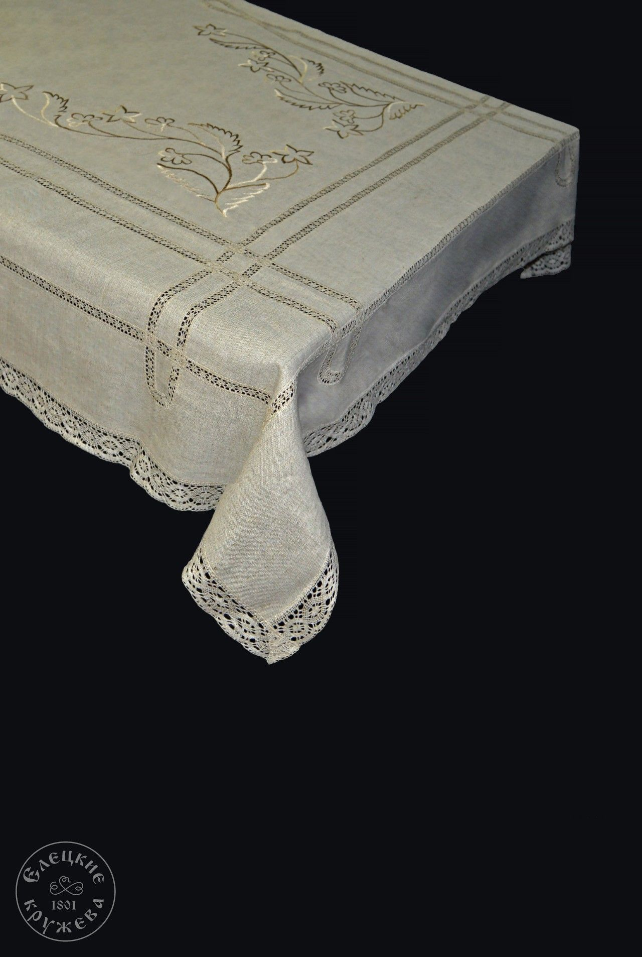 Yelets lace / Linen tablecloth С2923