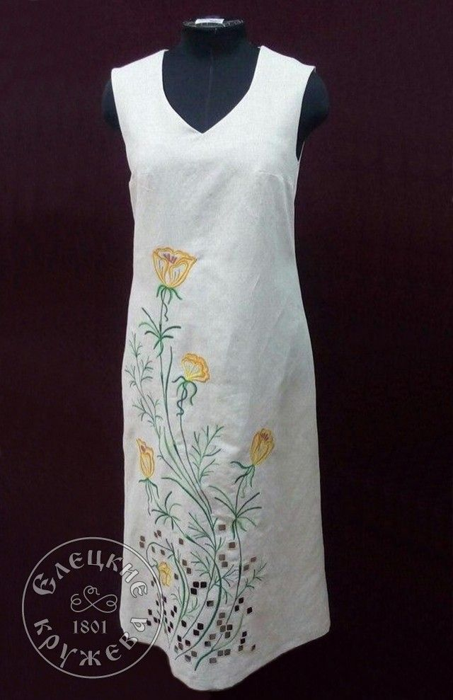 "Yelets lace / Women's linen dress with embroidery ""Yellow flowers"""
