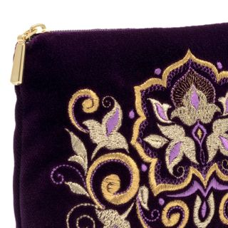 Velvet cosmetic bag Stone flower purple colors with Golden embroidery