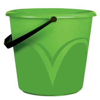 LIME / Bucket 6 l, without lid, plastic, food grade, with a glossy pattern, green color, measuring scale