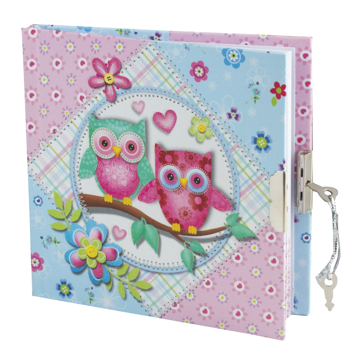 """BRAUBERG / Notebook """"Clever owlets"""" SMALL FORMAT 60 sheets A6, 145x155 mm, hardcover, metal lock, sequins, line"""