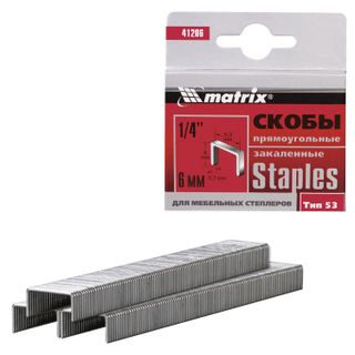 Staples for furniture stapler, type 53, 6 mm, MATRIX