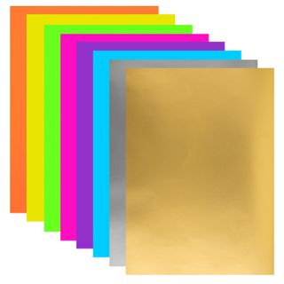 Colored paper, A4 paper, FLUORESCENT COATED (glossy), MAGIC, 8 sheets in 8 colors, clip, 200х280 mm, INLANDIA