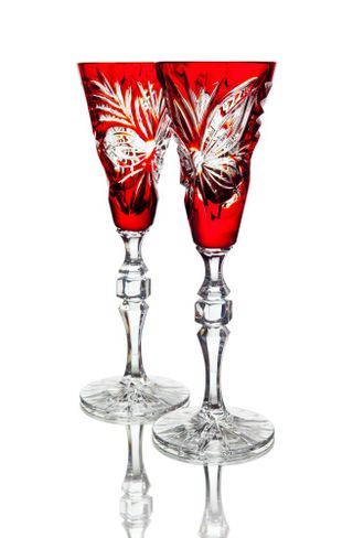 "Set of crystal glasses ""Dahlia"" red 2 pieces"