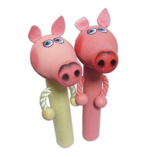 Wooden toy pop gun Piggy