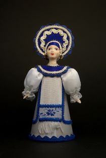 Doll gift porcelain. Costume on motives of Gzhel crafts.