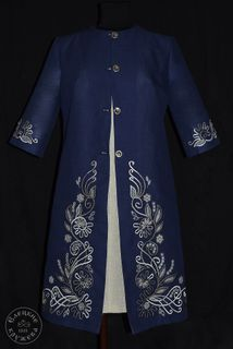 Coat womens linen embroidered С11787