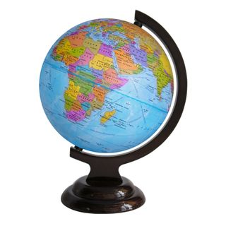 Political globe with a diameter of 210 mm on wooden stand
