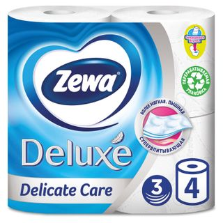 ZEWA / Toilet paper Delux household 3-layer (4x19 m), white, solder 4 pcs.