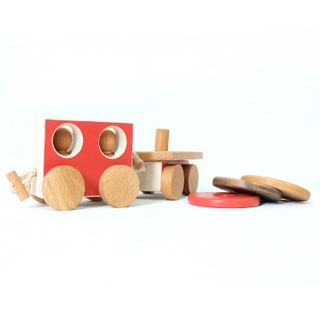 A set of train cars is a developing handmade wooden wooden toy