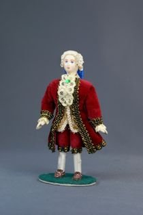 Doll gift porcelain. Cavalier. Secular court costume. 18th century. Europe.