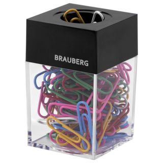 Screpanti magnetic BRAUBERG with 100 colored paper clips 28 mm, transparent case