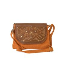Linen bag 'Arlet' brown with gold embroidery