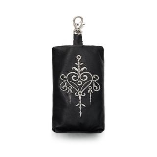"Leather keychain ""Retro"" black with silver embroidery"