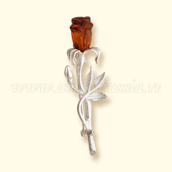 Amber of Russia / Brooch Rose, silver plated amber