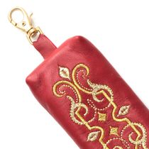 Leather key holder 'Ornament' red color with Golden embroidery