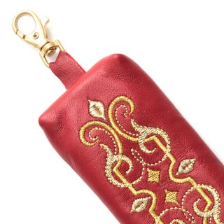 "Leather key holder ""Ornament"" red color with Golden embroidery"