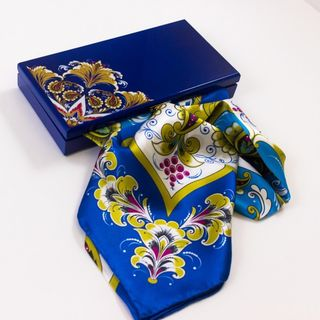 "Handkerchief made of natural silk in a gift box ""Taste of the holiday"""